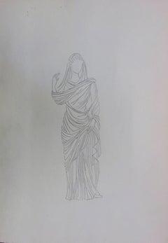Roman woman : Antique Greek costume - Original Pencil Drawing