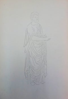 Roman man : Antique Greek costume - Original Pencil Drawing