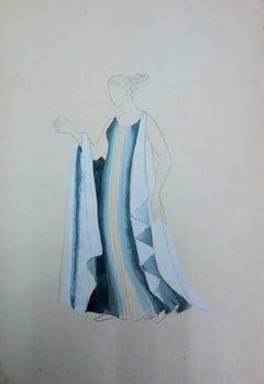 Long Blue Dress : Antique Greek costume (Antigone) - Original watercolor drawing