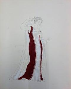 Long Red Dress : Antique Greek costume (Antigone) - Original watercolor drawing
