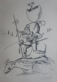 Pantagruel : Plate 7 - The Brave Egg Runner - Original handsigned lithograph