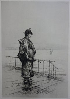 Woman in Traditional Japanese Suit Looking at the Sea - Original etching