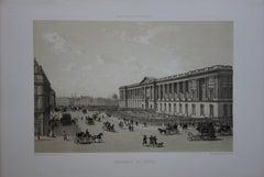 Paris : Back Door of Louvre Museum - Original stone lithograph