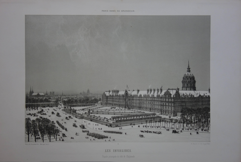Paris : Les Invalides under the Snow - Original stone lithograph