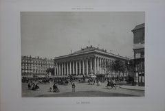 Paris : Stock Market Place - Original stone lithograph