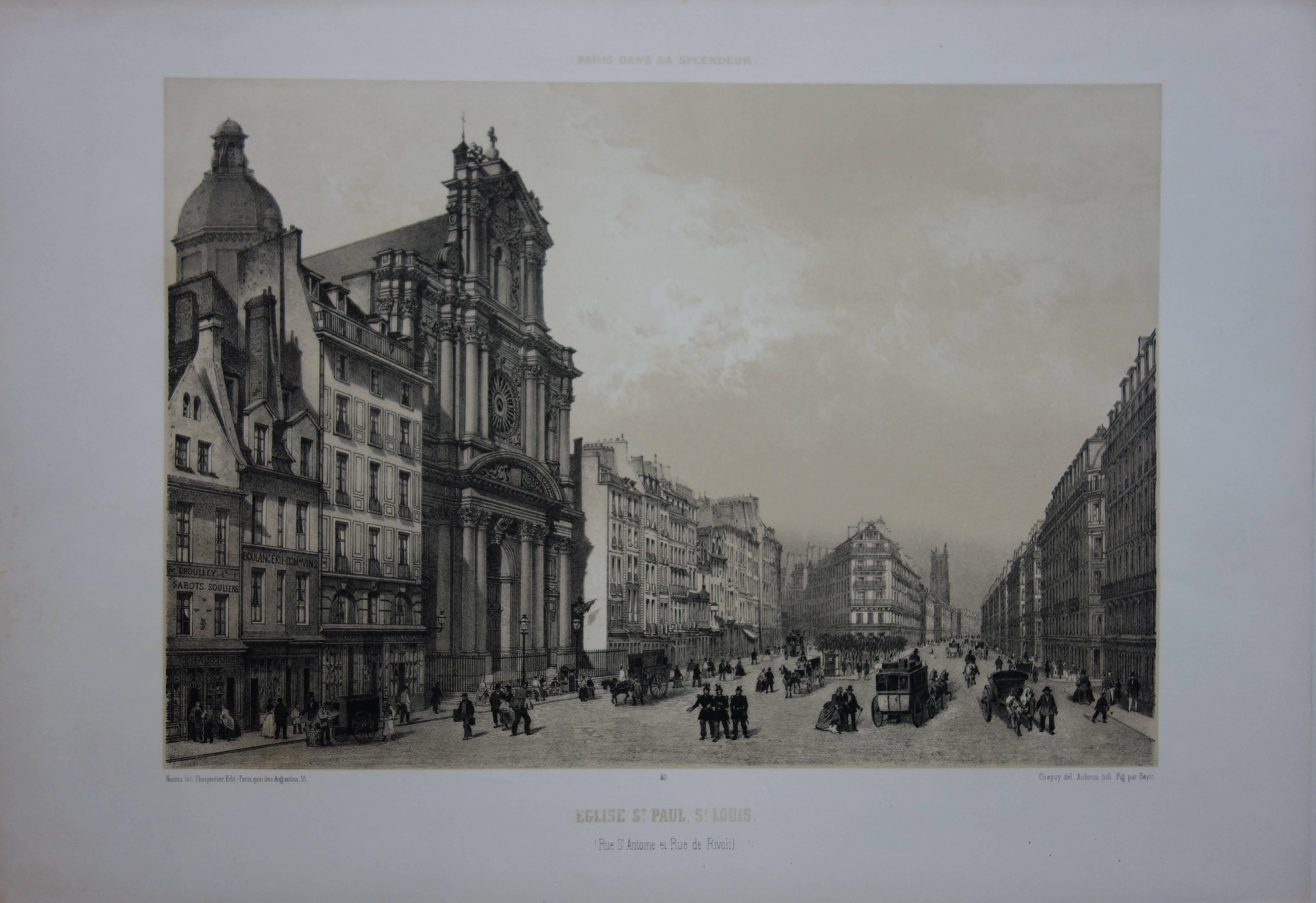 Paris : Saint Paul and Saint Louis Church - Original stone lithograph