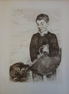 Boy with a Dog - Origninal Etching - 1902