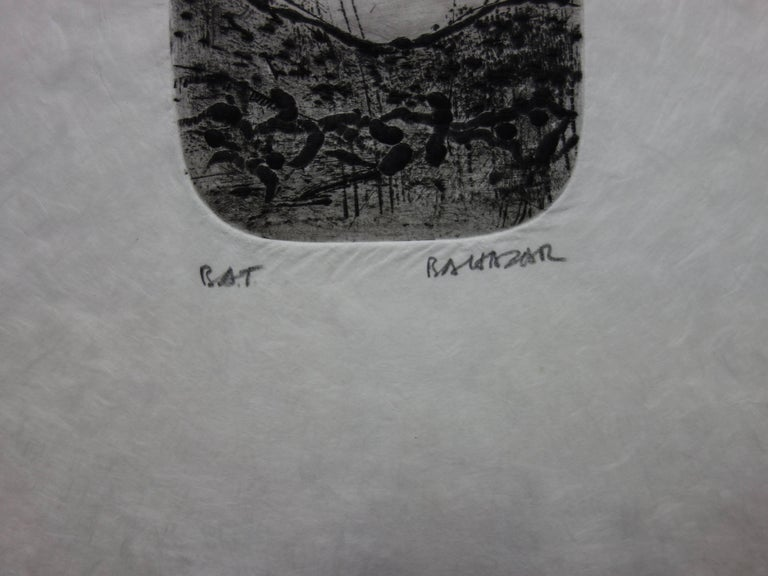 Dreamy Landscape - Original etching with aquatint - Handsigned - Gray Abstract Print by Julius Baltazar