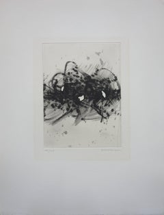 Tribute to Soulages - Original etching with aquatint - Handsigned