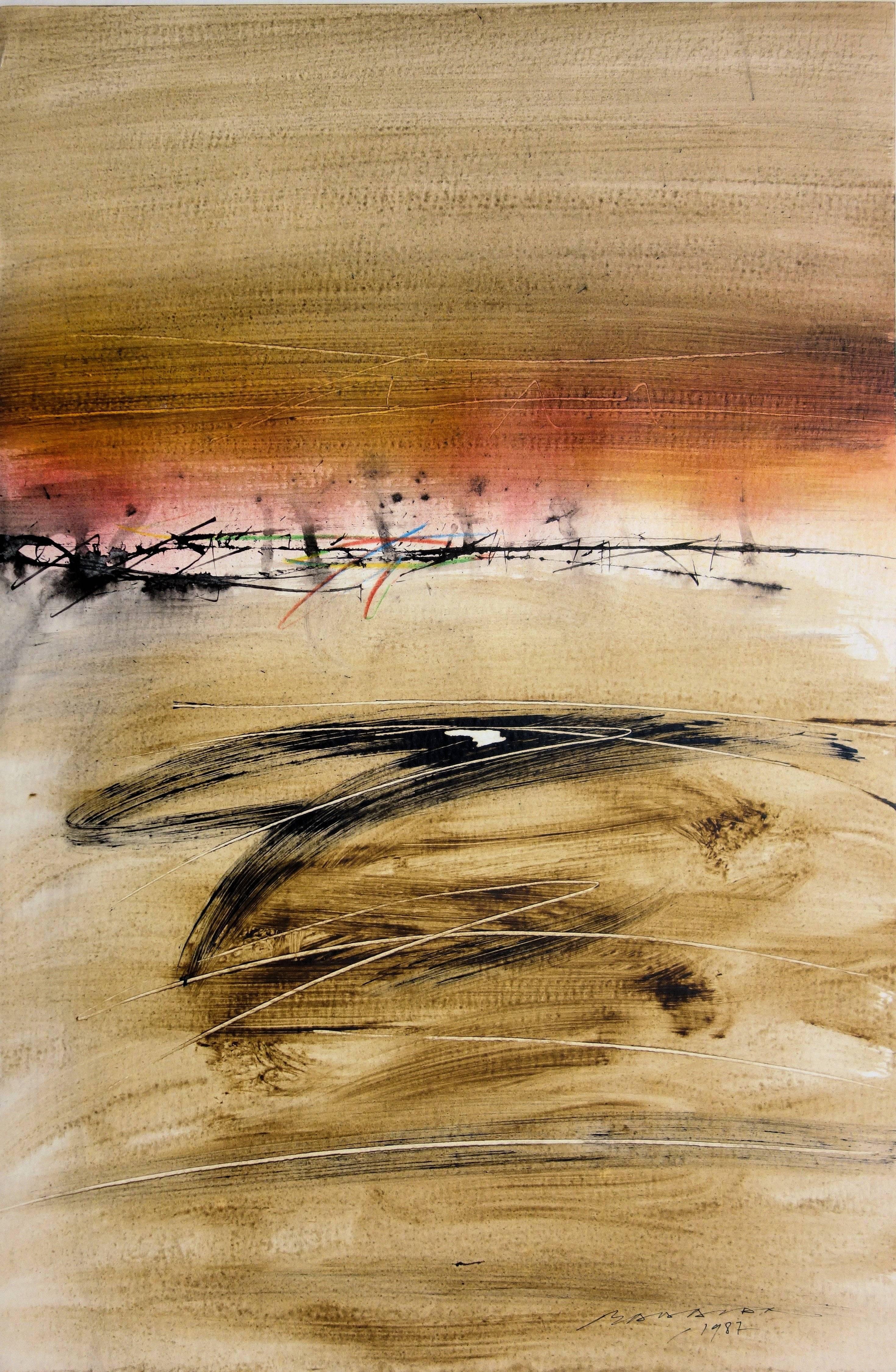 Desert - Original painting on paper - Handsigned