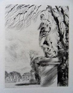 Sculptures in Paris - Original etching, 1943