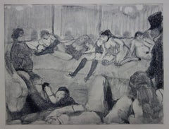 Whorehouse Scene : Briefing with Madam Mother - Etching, 1935