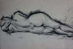 Reclining Nude - Original charcoals drawing