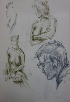 Selfportrait with Two Studies of Mary - Original charcoals drawing
