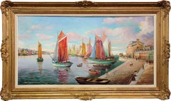 Harbour in the Early Morning - Signed oil on canvas - Framed