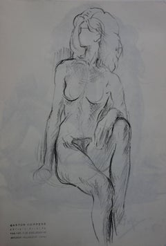 Nude Mary Seated on the Bed - Original charcoals drawing