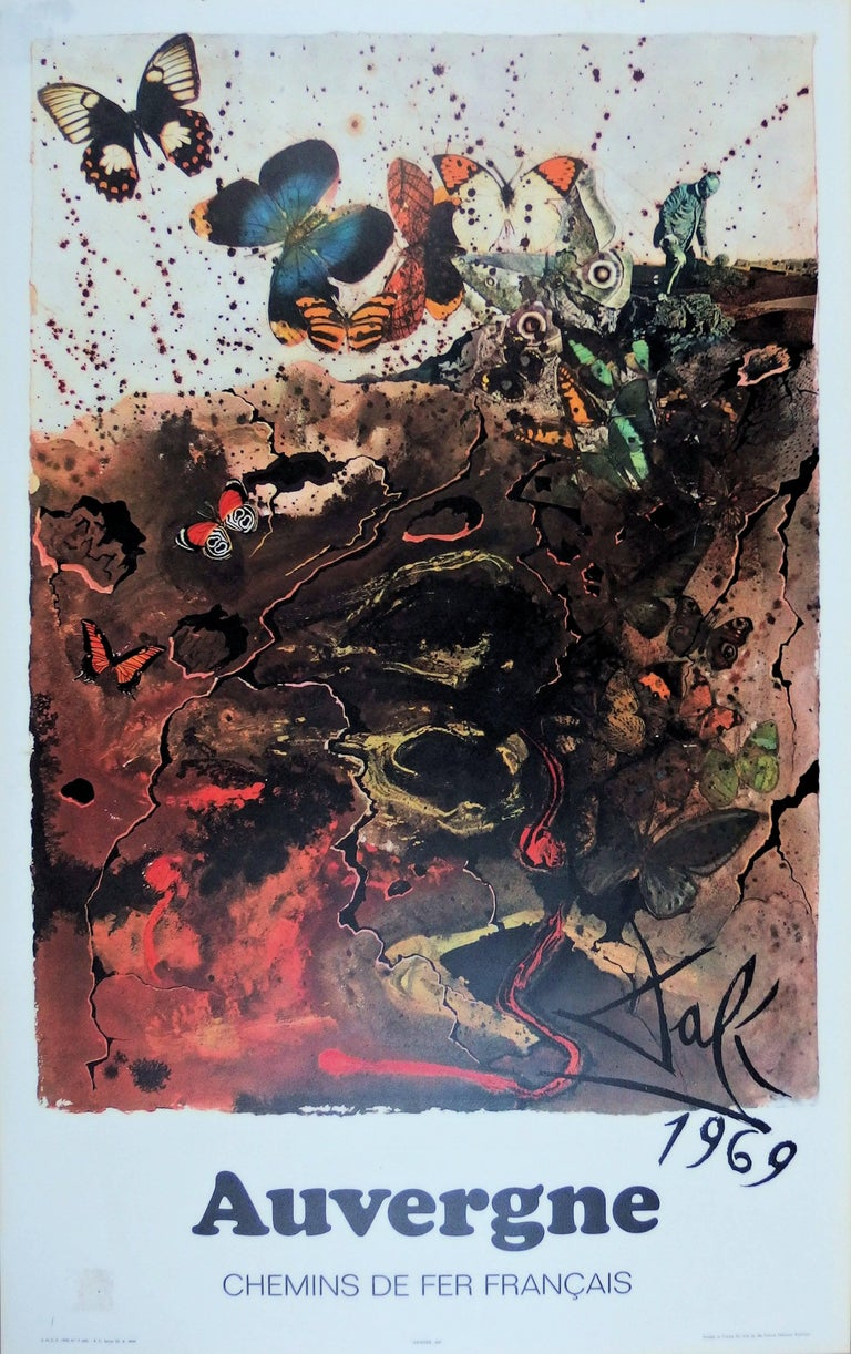 (after) Salvador Dali Animal Print - Butterfly suite : Auvergne - lithograph - Tall size, 1969
