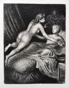 Lovers in Bed - Original etching, 1943