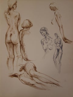 Nude Studies in Brown and Grey - Original signed charcoals drawing