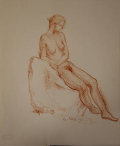Nude Study in Sanguine - Original signed charcoals drawing