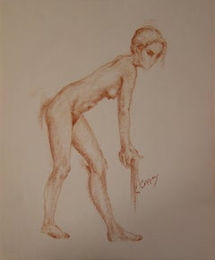 Nude Leaning on a Stick - Original signed charcoals drawing
