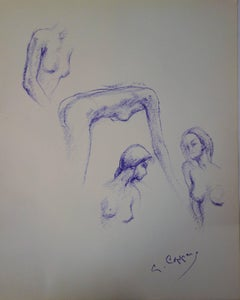 Four Studies of Jeanne - Original signed charcoals drawing