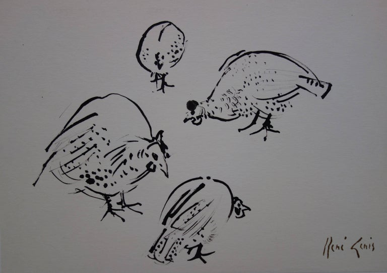 Four Guinea Fowls - Original hansigned ink drawing