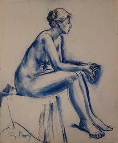 Blue Nude Ballerina - Original signed charcoals drawing