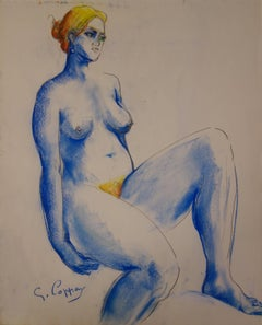 Fertility, Blond Haire Nude in Blue - Original signed charcoals drawing