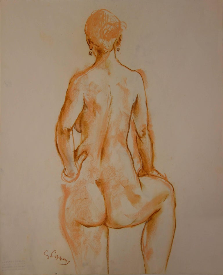 Study for a Standing Nude Sculpture - Original signed charcoals drawing