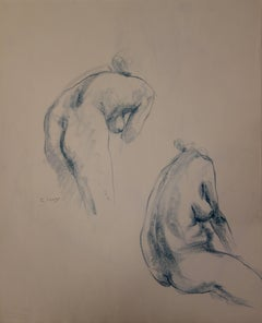 Two Studies of a Nude Profile - Original signed charcoals drawing