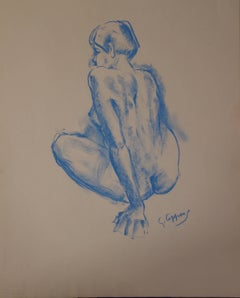 Model Getting Up - Original signed charcoals drawing