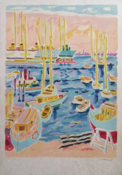 Jules Cavailles : Cannes Harbour - Signed lithograph