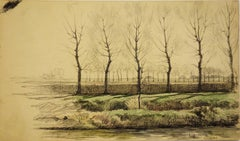 Landscape with River in Early Spring - Original Signed Charcoals Drawing