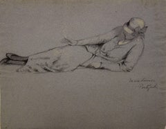 Marie Louise Smoking - Original Signed Charcoals Drawing