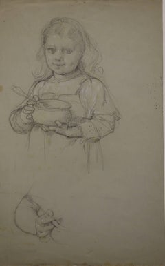 Manner of Vermeer : Young Girl with a Bowl - Original Charcoals Drawing