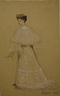 Woman in 1900s Dress - Original Signed Charcoals Drawing