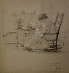 Woman Sewing - Original Signed Charcoals Drawing