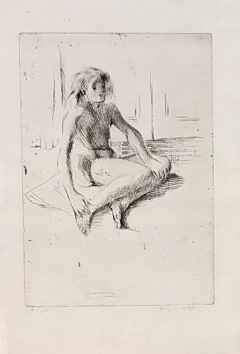 Jacques Villon Figurative Print - Little Girl - Original Etching Handsigned Numbered - 30 copies