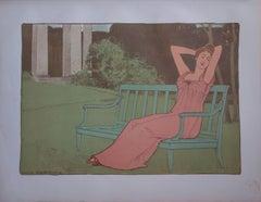 Corinne, Woman in a Park - original lithograph (1897-1898)