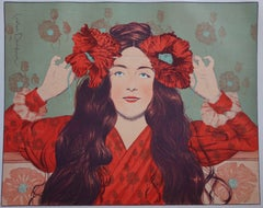 Young Girl with Poppies - original lithograph (1897-1898)