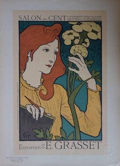 Woman with Flowers (Salon des Cent) - original lithograph (1897-1898)