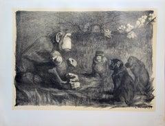 The Judgment of Paris (Monkeys) - original lithograph (1897-1898)
