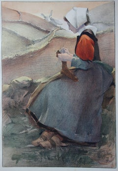 Woman in Traditional Dutch Costume - Original lithograph (1897/98)