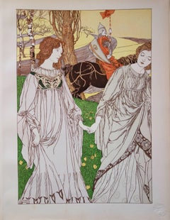 Two Women and a Knight - Original lithograph (1897/98)
