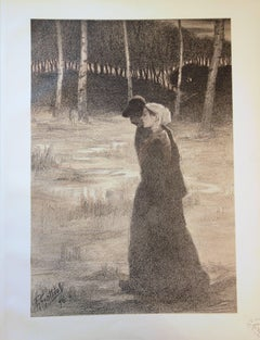 Lovers Walking in the Woods - Original lithograph (1897/98)