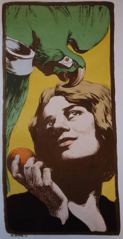 Woman with Parrot - Original lithograph - 1897