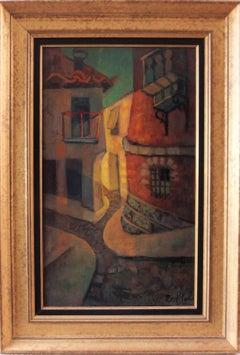 Spain, Aragon : Old Street of Ibdes - Original oil painting - Signed
