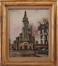 Paris : Saint Ouen Church - Original signed oil on Board - C. 1950
