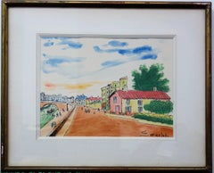Paris : Seine River at Ivry - Handsigned watercolor - circa 1950
